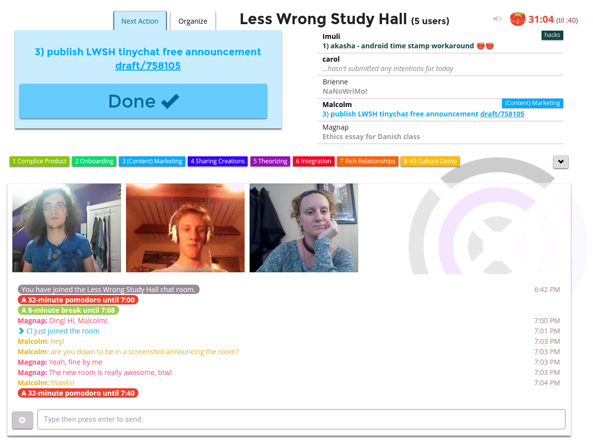 a screenshot of the lesswrong study hall